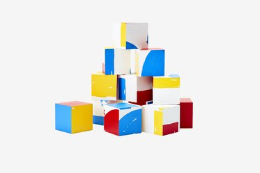 colorful patterned wooden blocks from Areaware