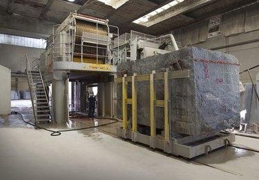 Granite block cut by gang saw