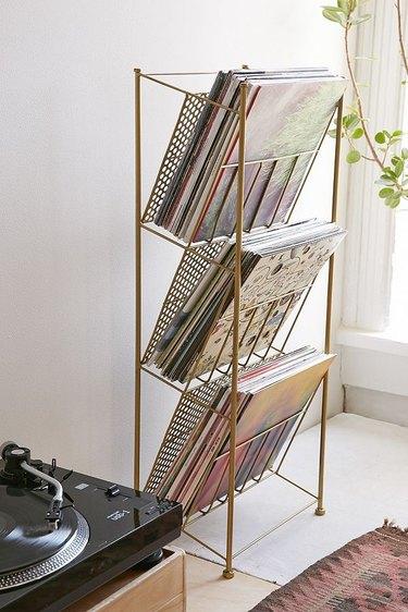 vinyl record storage rack