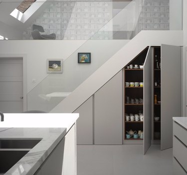 under the stairs idea with modern kitchen cupboard