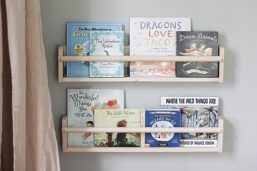Two bookshelves filled with children's books