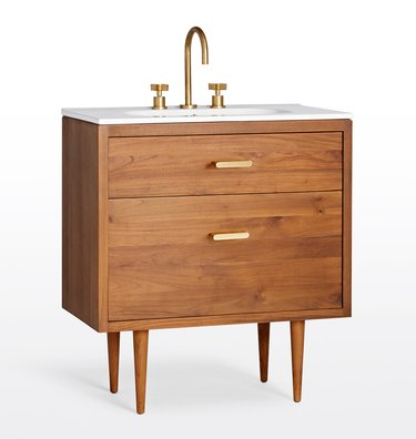Wooden mid-century vanity with two drawers and gold hardware