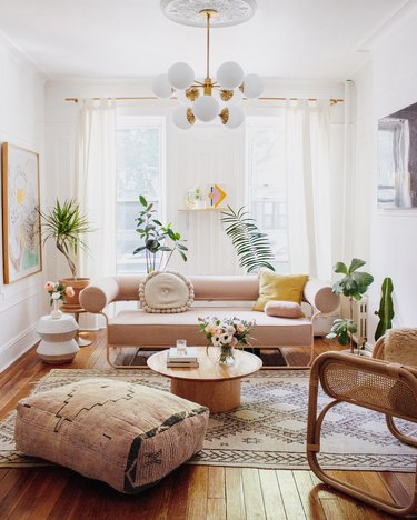 living room lighting idea with chandelier