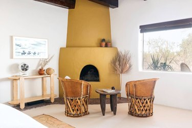 living room with ochre and cream desert house color palette