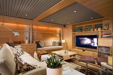 pine basement with corrugated metal panel basement ceiling ideas