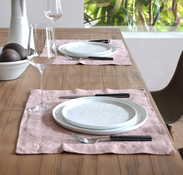 table with pink tablecloths