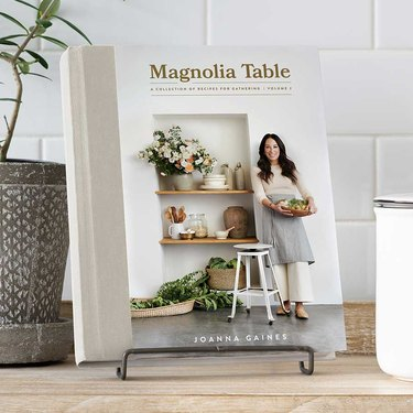 Magnolia Table cookbook on stand in kitchen space