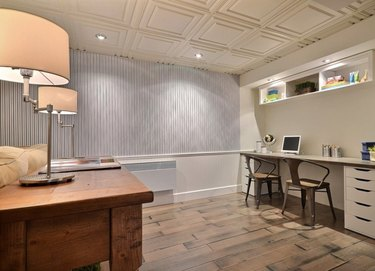 decorative basement ceiling ideas in white office