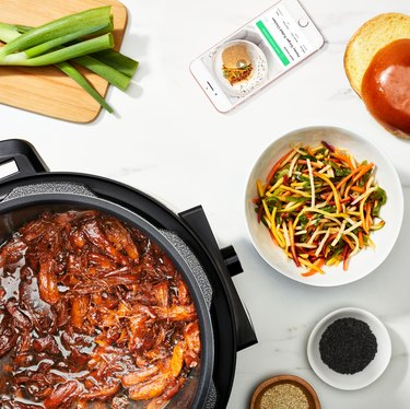 chef iq smart cooker with app and ingredients