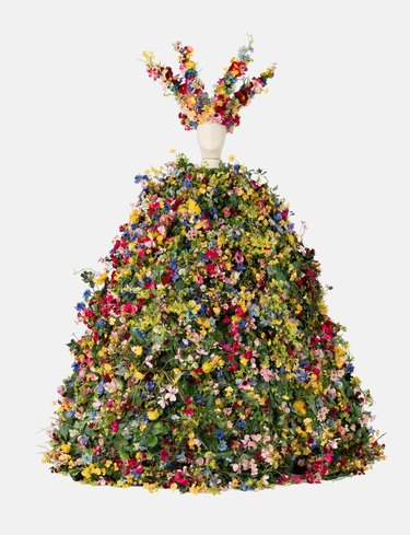 mannequin with floral dress and crown