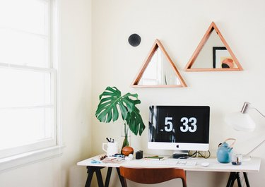 reclaimed wood mirror triangle desk