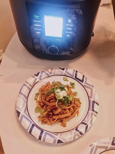 CHEF iQ and pasta on table