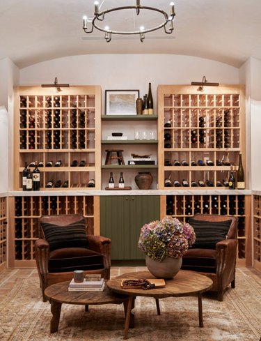 cozy basement bar with a wine cellar
