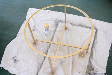 Coffee table base spray painted gold