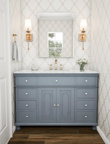 gray traditional bathroom vanity idea with decorative trim