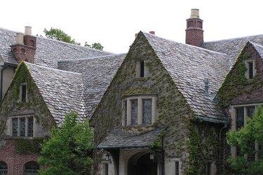 Slate-roofed home.