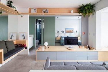 modular studio living room bedroom bathroom layout with fern