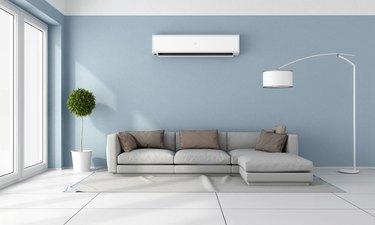 Mini-split air conditioner in living room.