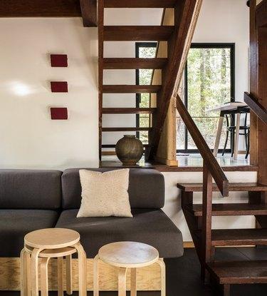rustic meets modern midcentury cabin split-level living room