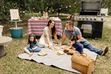Parents and two small kids sitting on picnic blanket enjoying hot dogs and chips