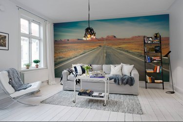 Road wallpaper with couch and and bookshelf