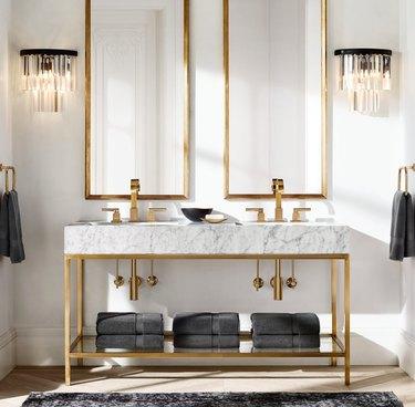 open vanity in bathroom