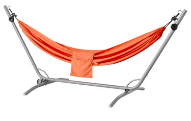 orange hammock on stand