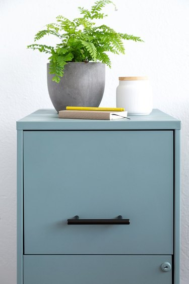 Blue filing cabinet with black handles and green plant.