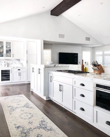 kitchen cabinet hardware idea in white kitchen with black cabinet pulls