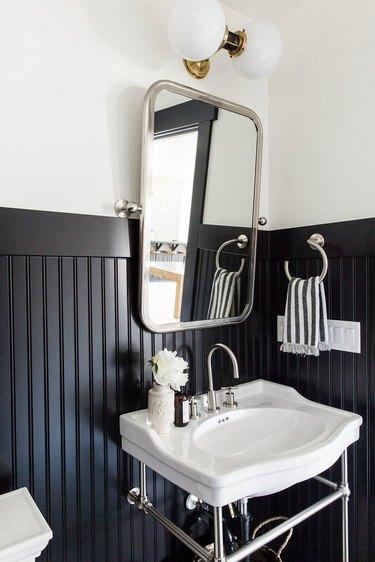 bathroom wainscoting idea with black beadboard