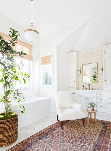 traditional bathroom idea with traditional bath with eclectic details