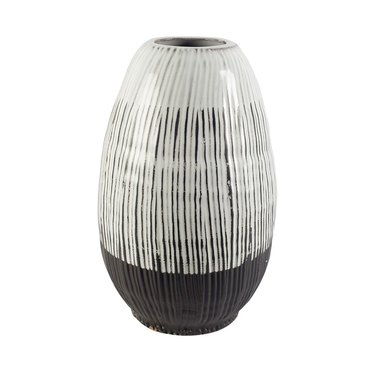 Black and white oval vase. Bottom 1/4 is solid black, top 3/4 is black and white vertical stripe design