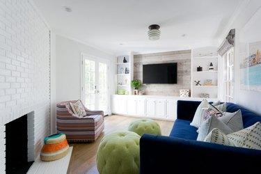living room lighting idea with semi-flush mount fixture