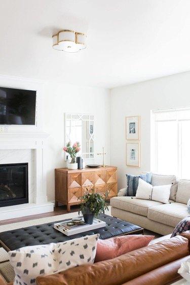 living room lighting idea with flush mount fixture
