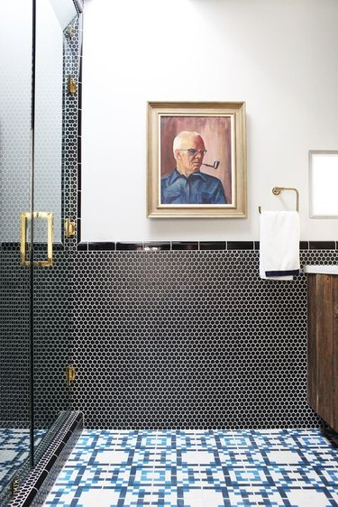 black round penny tile bathroom wainscoting idea