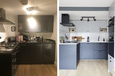 before and after of greyscale IKEA kitchen makeover