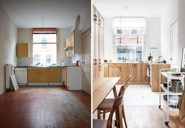 before and after of industrial wooden kitchen makeover