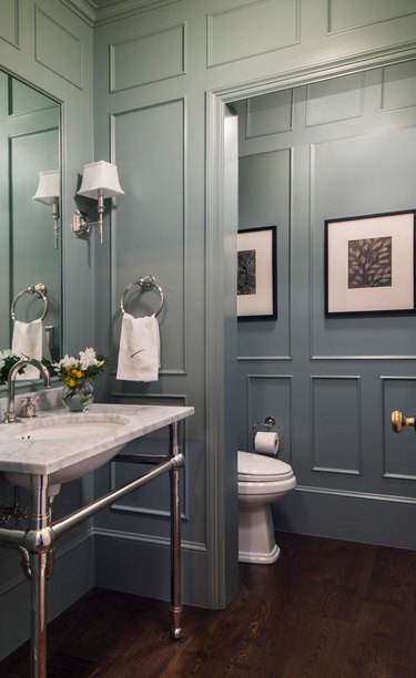 spa bathroom ideas in southern country style bathroom with raised crown molding and luxury finishes