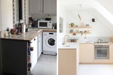 before and after of plywood kitchen makeover