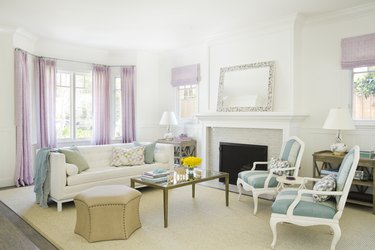 living room sofa ideas for white living room and pastel drapery