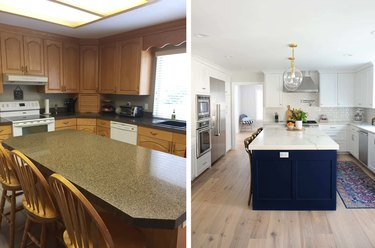 before and after of marble and navy kitchen makeover