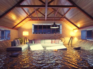 Flooding in the living room.