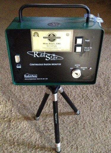 Radon testing equipment in place