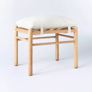 wooden upholstered ottoman