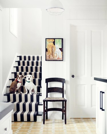 Cabana stripe stair runners in white entryway with dog painting