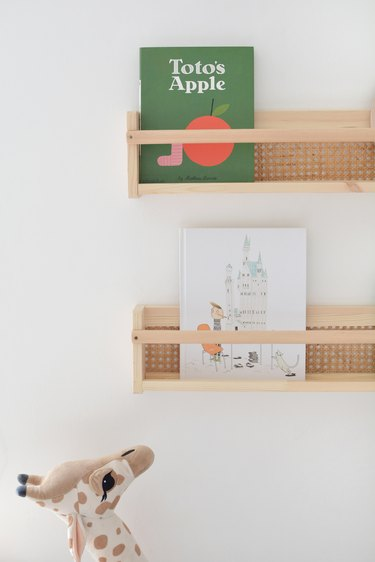 Cane Bookshelves with childrens books
