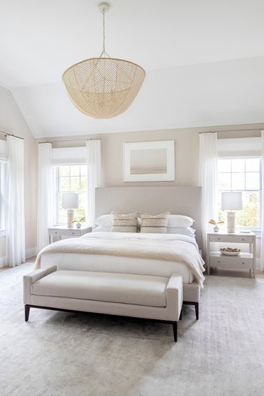 taupe and white traditional bedroom color schemes with wicker light