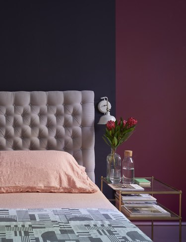 red and burgundy traditional bedroom color schemes with pink skeets