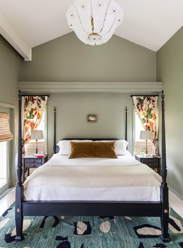 muted green traditional bedroom color schemes with four poster bed