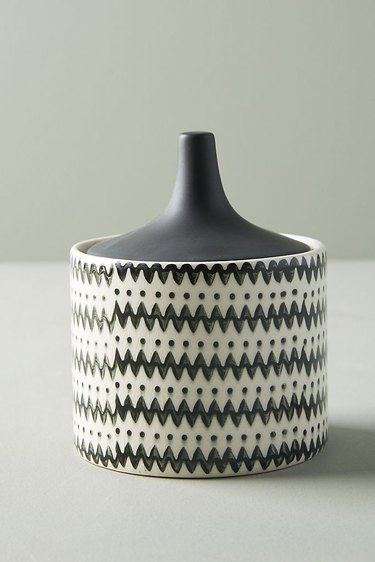black and white patterned jar